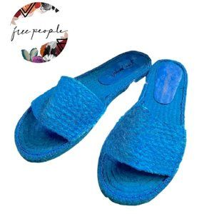 FP Beach Front Blue Espadrille Slide Sandal NEW
